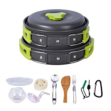 HUKOER camping Cookware Mess Kit Ultralight Backpacking Gear